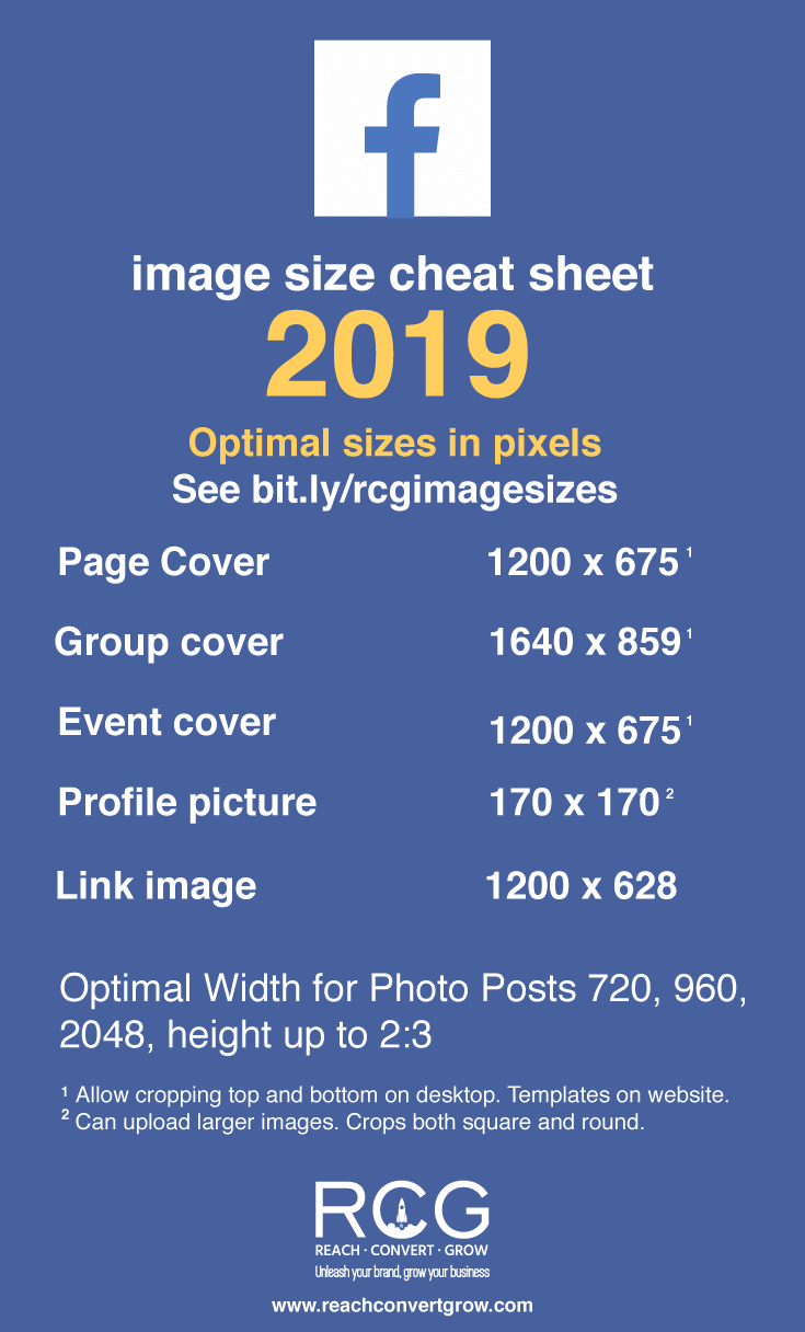 Facebook social media cheat sheet image sizes