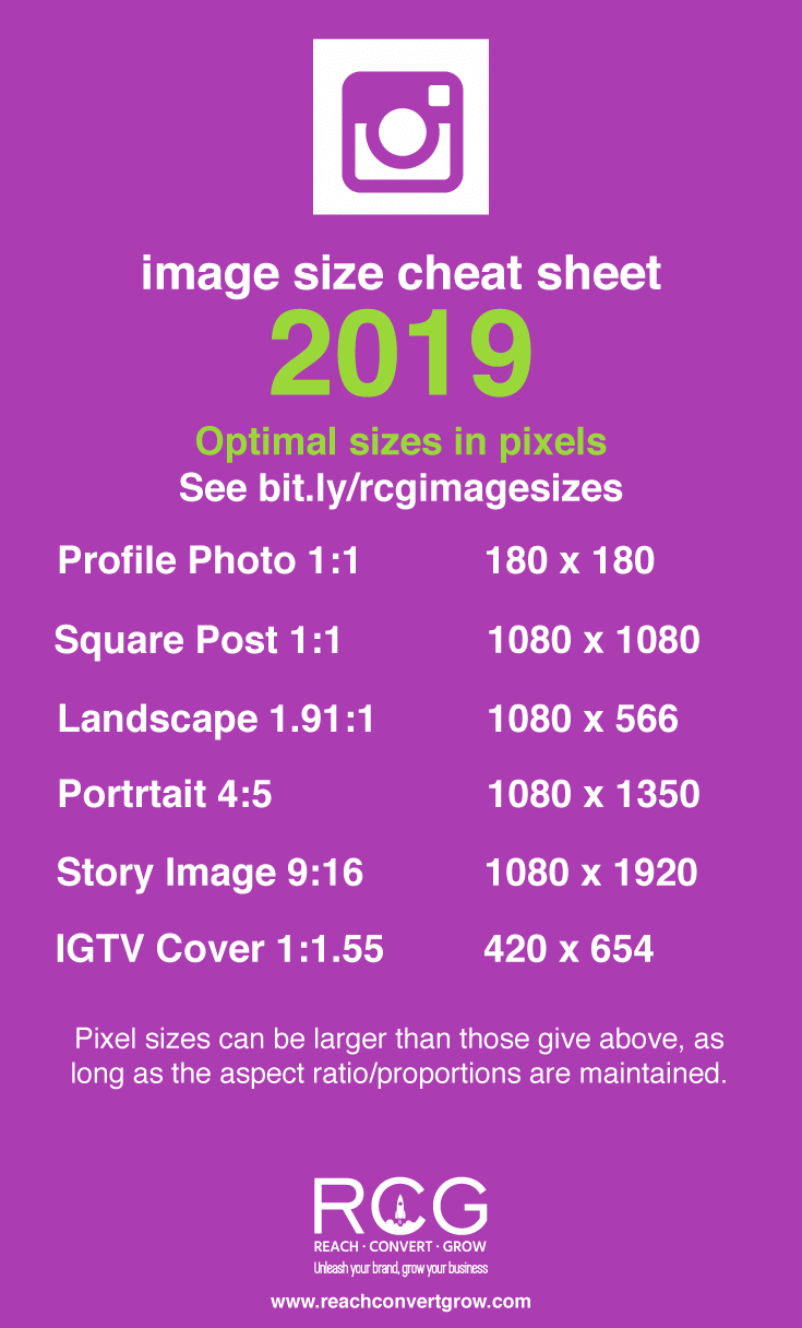 Instagram social media cheat for image sizes