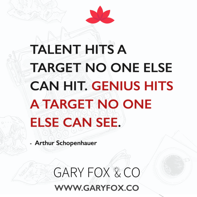 Talent hits a target no one else can hit. Genius hits a target no one else can see. #quote #creativity @garyedwardfox